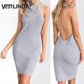 VESTLINDA Knitted Open Back Dress Sexy Evening Party Dresses Women Turtleneck Backless Dress 2017 Pullover Sleeveless Robe Femme