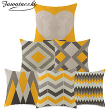 Fuwatacchi Geometric Cushion Cover Arrow Wave Diamond Pillow for Home Chair Decorative Pillows Yellow Linen Throw