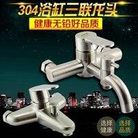 304 stainless steel antifreeze bathtub faucet nozzle set triple triple hot and cold shower faucet shower rain mixing valve