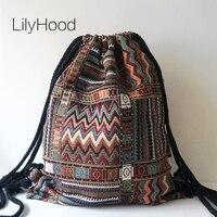 Lilyhood women fabric backpack female gypsy bohemian boho chic aztec ibiza tribal ethnic ibiza brown drawstring.jpg 200x200