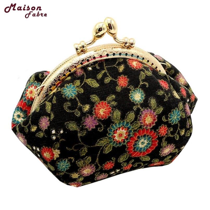 Women Lady Retro Vintage Flower Small Wallet Hasp Purse Clutch Bag drop shipping 0623