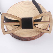 Men's Adjustable Gentle Unique Wooden Bow Tie Men Formal Geometric Scissors Laser Cutout Jewelry Party Accessories