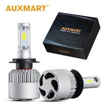 Auxmart COB Headlight H7 H4 H11 Bulb 9005 HB4 9006 H13 LED Lamp Auto 72W 8000lm 6500K LED Headlamp kit Car Light For Audi BMW(China)