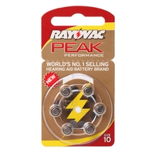 RAYOVAC PEAK 60 x Hearing Aid Batteries A10 10A ZA10 10 S10, 60 PCS Hearing Aid Batteries Zinc Air 10/A10