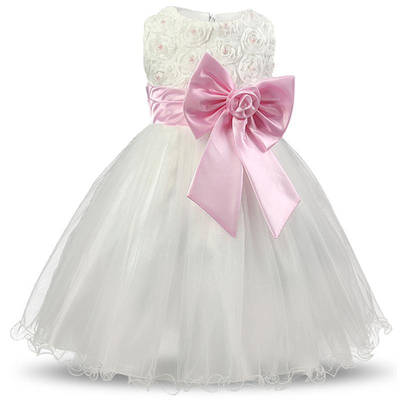 2017 White Children Princess Flower Girl Dresses For Wedding Party Pageant Dress Communion Dress Big Bow Lace Gown Girls Clothes 2015 new girls dress princess dress children party wear veil big bow flower girl wedding dress white rose baby girls