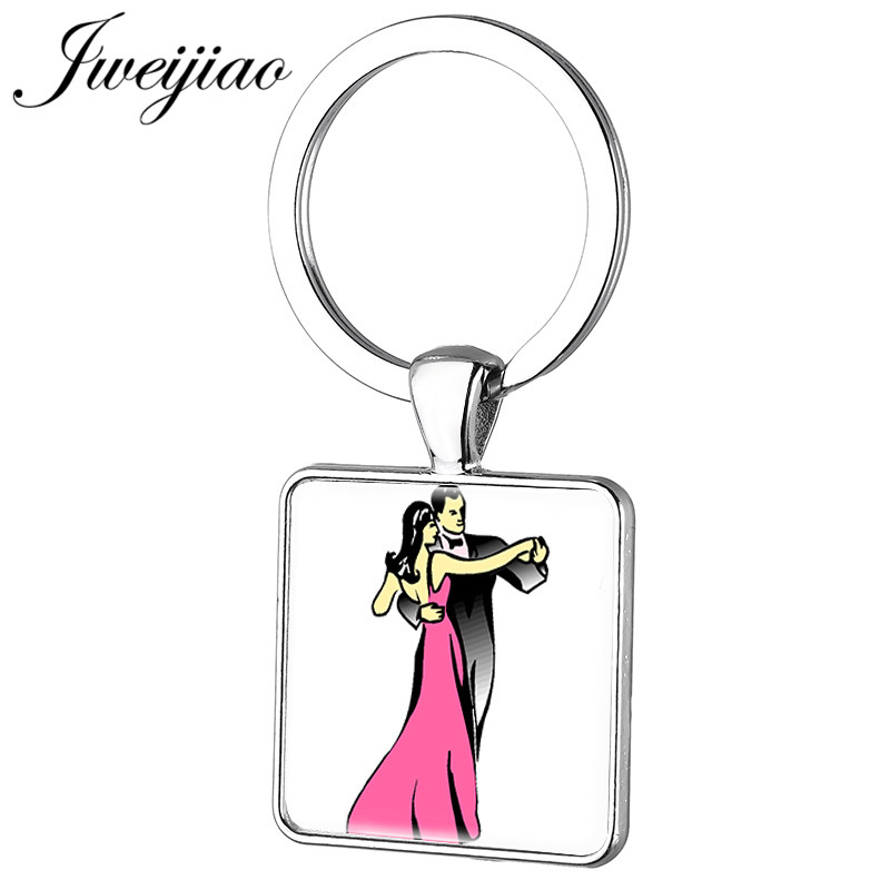 JWEIJIAO New Foxtrot, The Tango And The Waltz Ballet Dancer Keychain Figure Silhouette Key Chain Ring Holder Customized DS34