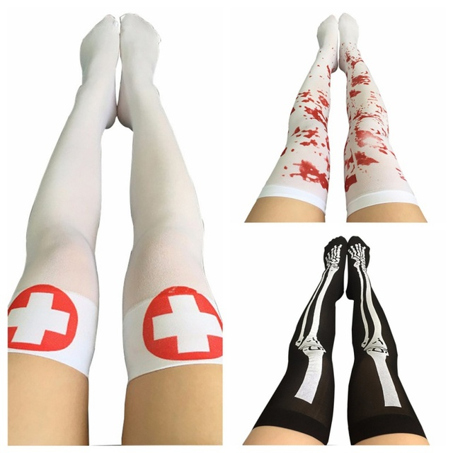bff66368b Halloween Sexy Fishnet Festival Nurse Stockings Women Cable Extra Long Boot  Party Knee Socks Decoration Women