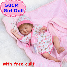 20″ NPK 50cm Full Silicone Bebe Reborn Doll Vivid Smile Dreaming Baby Girl With Free Quilt Girls Playmate Kids Toys Brinquedos