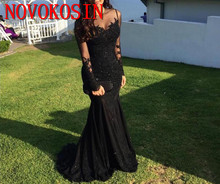 2019 Sexy Arabic Jewel Neck Illusion Lace Appliques Crystal Beaded Black Mermaid Long Sleeves Formal Party Dress Prom Gowns