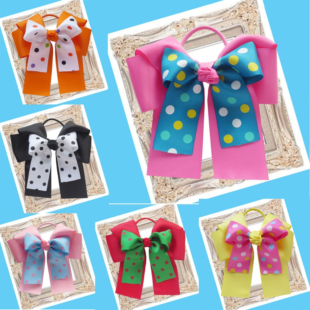 10pcs Free Shipping BLESSING Happy Girl Hair Accessories 6A- Double Cheer Leader Bows Elastics