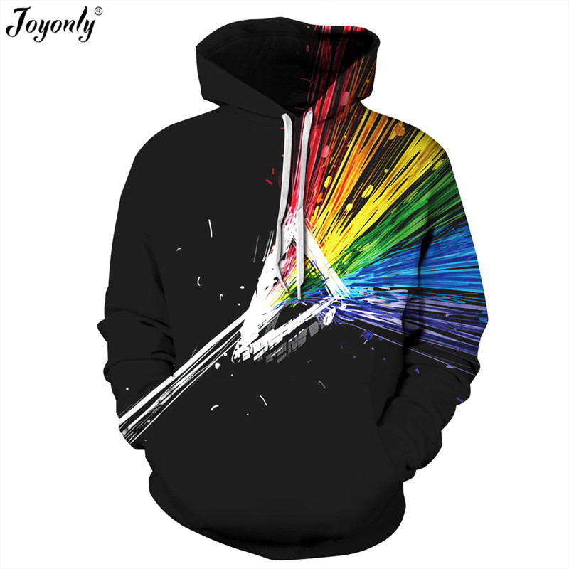 Joyonly New 2018 Harajuku Colorful Aurora Lines 3D Sweatshirts Women Men Black Hooded Hoodies Casual Loose Pullover With Pockets