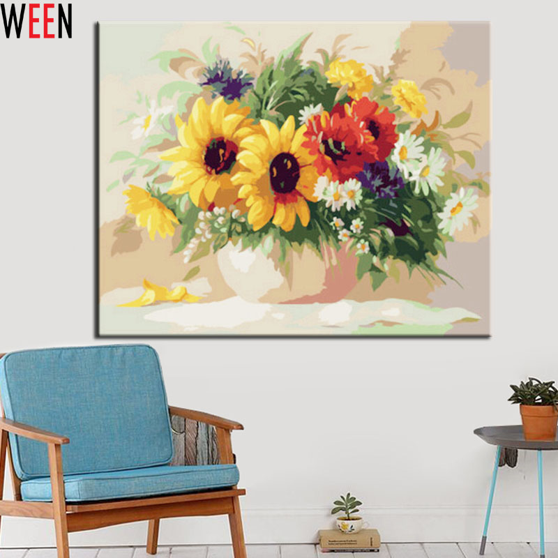 Buy flower wall pictures painting by for Diy flower canvas wall art