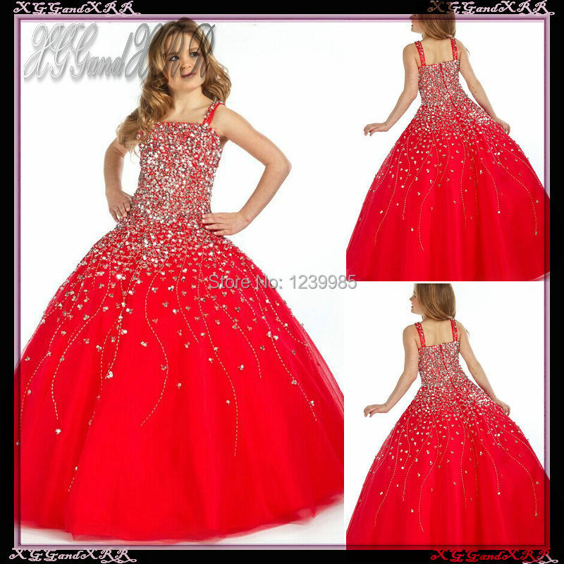 7103c588b3f8 Luxurious Beaded Spaghetti Straps Red Long Girl Party Dresses 2017 ...