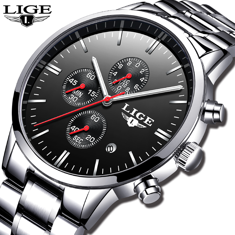 LIGE Casual Fashion Mens Watches Military Sport Quartz Watch Men All Steel Chronograph Waterproof Clock Relogio Masculino + boxLIGE Casual Fashion Mens Watches Military Sport Quartz Watch Men All Steel Chronograph Waterproof Clock Relogio Masculino + box