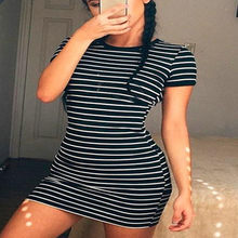 Dress Female Vintage Summer Stripe Dress Sexy Fashion Short Sleeve Bodycon Mini Elegant Dress Street Wear Drop Shipping(China)