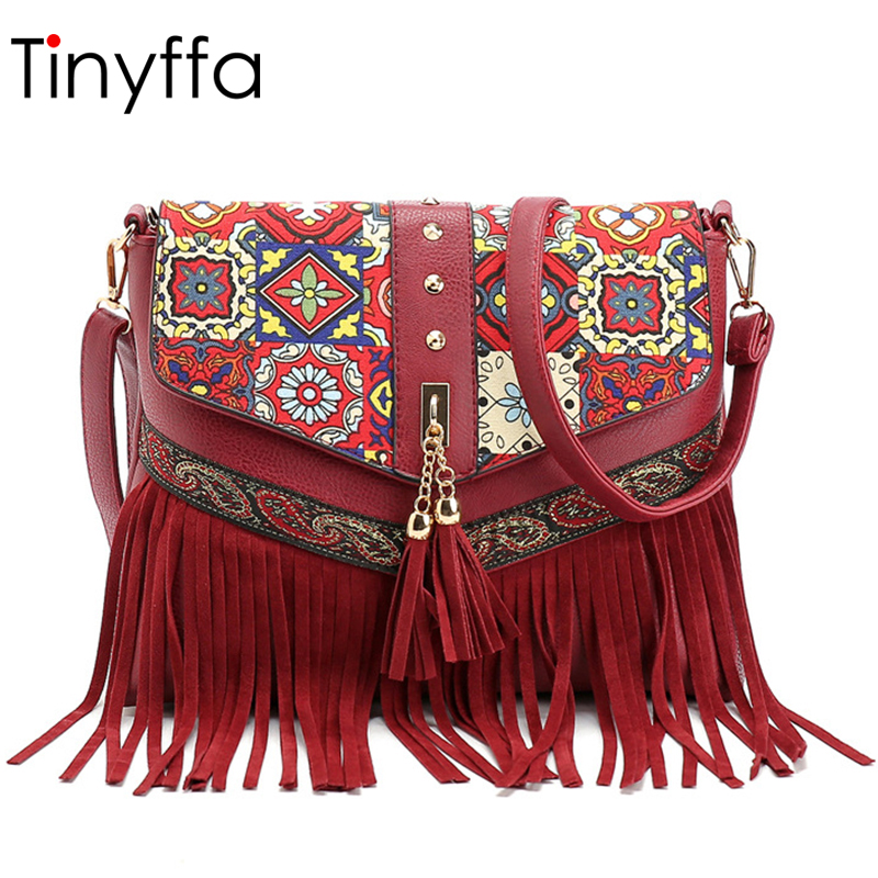 Tinyffa PU Leather Women Shoulder Bag Female Crossbody Bags For Women Messenger Bags Women Purses And Handbags Small Embroidery