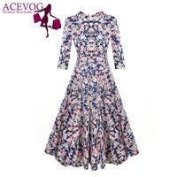ACEVOG Brand 1950s Dress Autumn Spring 3/4 Sleeve Women Fashion Elegant Vintage Rockabilly Floral Swing Party Dresses 4 Styles