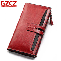GZCZ Genuine Leather Women Long Wallet Fashion Red Zipper High Quality Hasp Multi Card Purse New