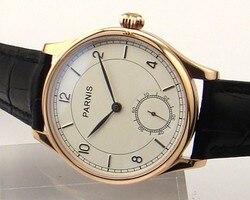 Parnis 44mm biała dial złoty case ręcznie nakręcany 6498 zegarek mechaniczny 6498 p003 w Zegarki mechaniczne od Zegarki na