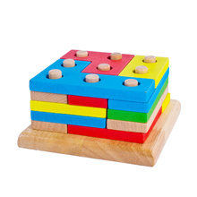 Wooden Column Shapes Stacking Toys Baby Preschool Educational Geometric Sorting Board Blocks Montessori Building Blocks