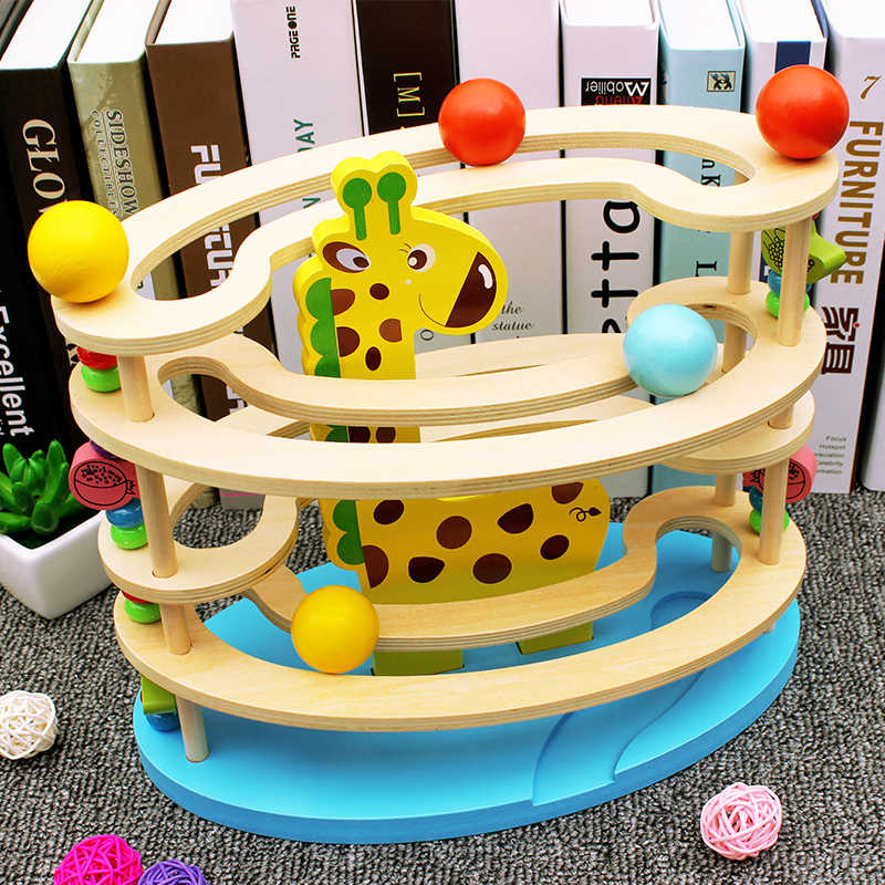 Baby Toy Wooden block ball track Chopping Block Table Game baby Educational Animal Model ball park Wooden toy for Children