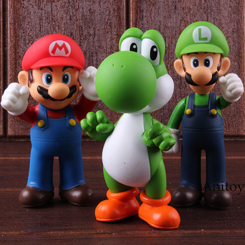 Super Mario Bros wii Марио игрушки Yoshi Луиджи ПВХ фигурку вечерние украшения игрушки 3 шт./компл. 11-12 см KT2652