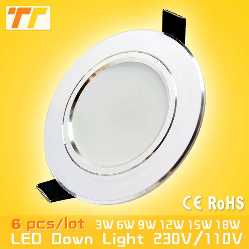 6Pcs / lot Led Downlight 3W 5W 7W 9W 12W 15W 18W 220V 110V Led spot Lamp Home Indoor Lighting free shipping led downlights 3w 5w 7w 9w 12w 15w 18w 220v led ceiling downlight 5730 lamps led ceiling lamp home indoor lighting