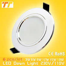 6Pcs / lot Led Downlight 3W 5W 7W 9W 12W 15W 18W 220V 110V Led spot Lamp Home Indoor Lighting free shipping