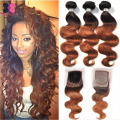 10A Ombre Brazilian Hair Body Wave With Closure 3 Bundles Wet And Wavy Weave With Closure Ombre Hair Bundles With Lace Closures