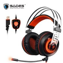 2017 Nueva A7 USB SADES 7.1 Surround Sound stereo Gaming Headset de Auriculares Con Cable Con micrófono LED Para PC Gamer Laptop