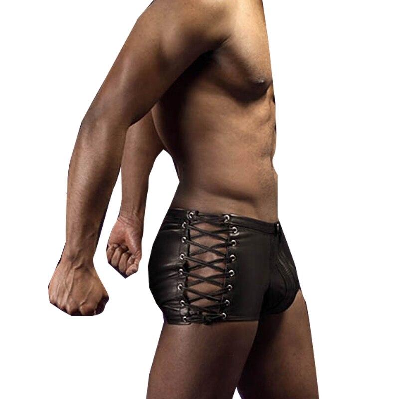 Man Lingerie Pants Boxers Fetish-Wear Lace-Up German Sexy Men High-Quality Black
