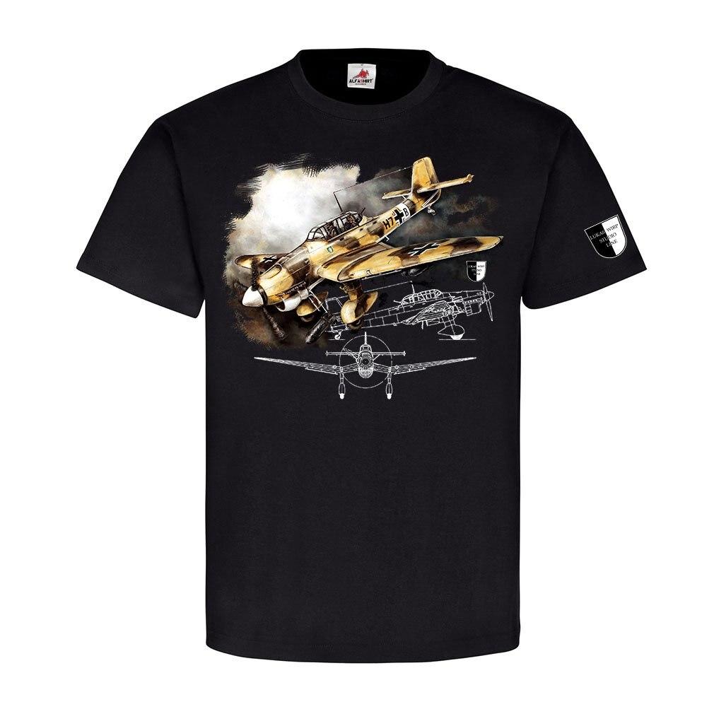 ALFASHIRT Lukas Wirp Ju87 Stuka Africa Dive Bomber Tropics Air Force Painting Militaria Printed Mens Men T Shirt