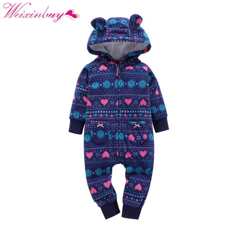 Baby Rompers Winter Printed Flower Jumpsuit Fleece Romper For Boys Clothes Warm Newborn Baby Girls Clothing Infant Costumes