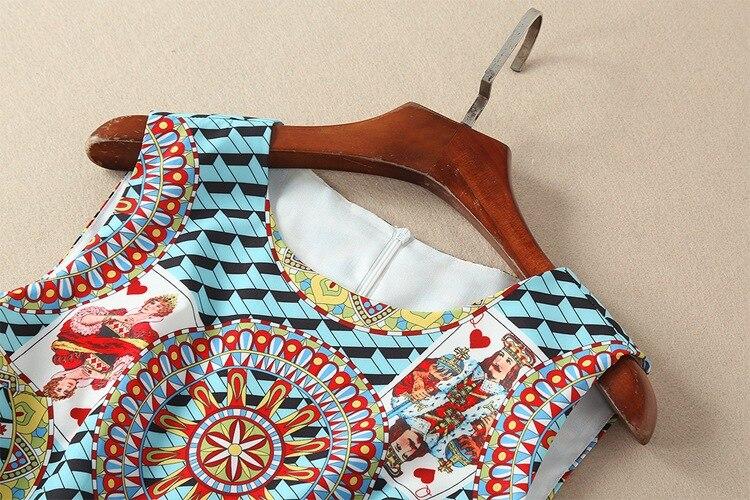 Casual Sans Robes Haute Piste Manches Arrivée Bleu 2018 Femmes Longueur Vintage Qualité Genou Nouvelle Floral Qyfcioufu D'été Imprimé w8t0qp8