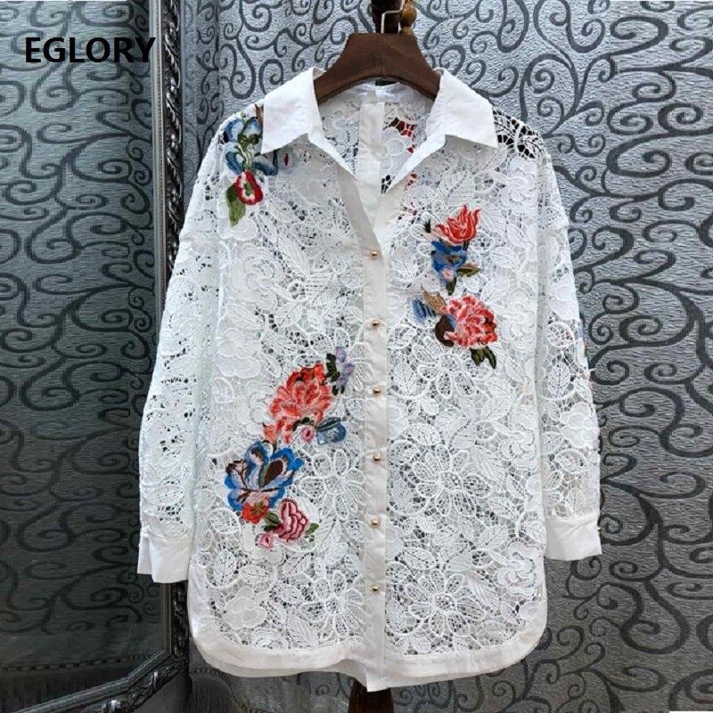 Высококачественная брендовая кружевная блузка 2019 весна лето Модная кружевная рубашка плюс размер женский топ с отложным воротником с цвет...