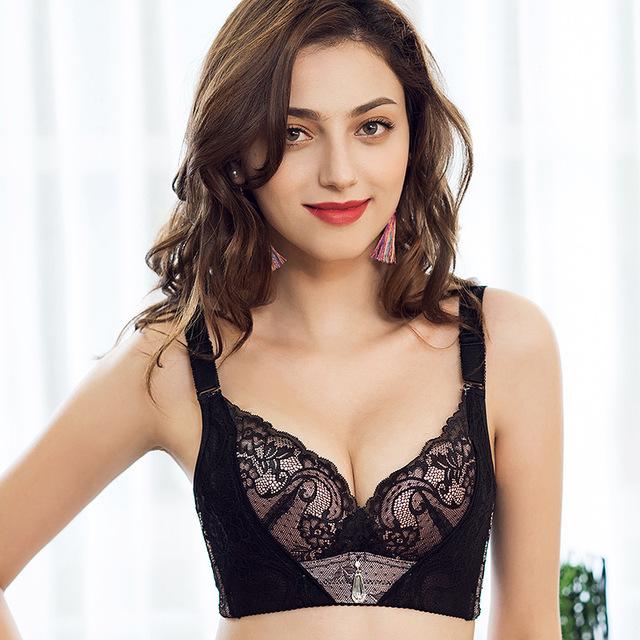 Mulheres Lingerie Sexy Sutiã Sem Fio Empurrar Para Cima 2017 Moda Respirável 3/4 Copo Bordado Sólida Rendas Bralette Bras Plus Size Quente venda