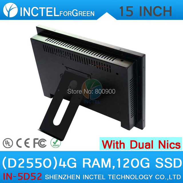 All in one desktop pc with 5 wire Gtouch 15 inch  LED touch 4G RAM 120G SSD Dual 1000Mbps Nics