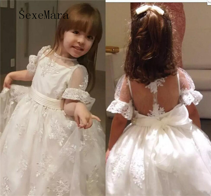 Ivory Lace Flower Girls Dresses 2018 Cap Sleeves Appliques Beaded Sheer Kids Formal Wear Gowns for Wedding Party Girl Dress цены онлайн
