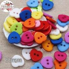 100 шт. 11 мм смешанный цвет сердце пластиковые кнопки для пришивания пуговиц украшения Швейные Craft Записки аксессуары Оптовая продажа