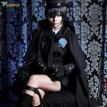 Costume de Cosplay noir de majordome du Ciel, fantôme de la ruche, Costume d'enterrement d'halloween