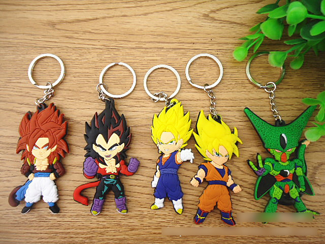 5pcs/lot Dragon ball z Super Saiyan 3 Goku Cell vegeta Gohan Frieza keychain set 2016 New figurine Dragon ball z car key ring