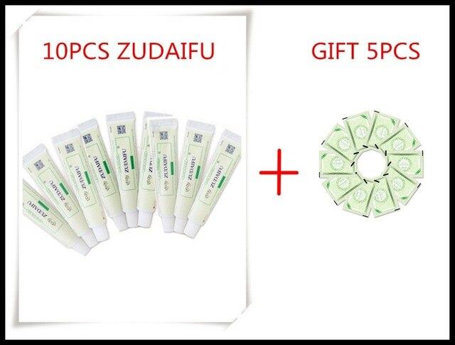 10 قطعة ZUDAIFU + هدية كريمات الجلد الطبيعي الأكزيما المراهم الصدفية الأكزيما حساسية التهاب الجلد العصبي Ointmen (بدون صندوق البيع بالتجزئة)