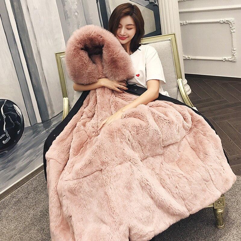 Real Fur Coat Parkas Winter Jacket Women Rex Rabbit Fur Liner Fox Collar Ladies Long Outerwear