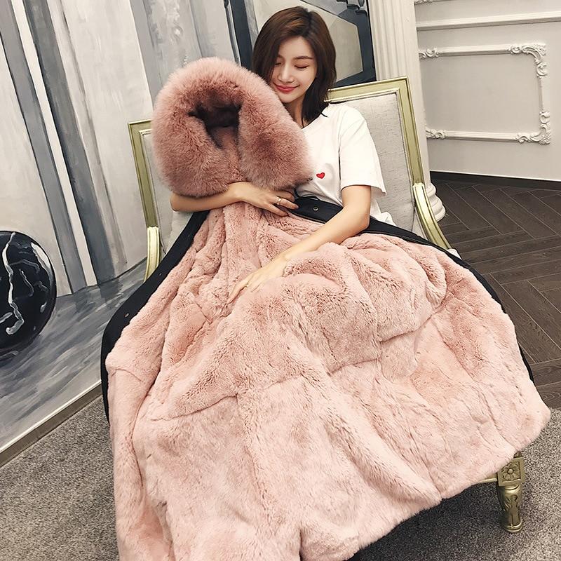 Abrigo de piel Real Parkas chaqueta de invierno mujer Rex piel de conejo Liner cuello de zorro señoras ropa de abrigo larga-in piel real from Ropa de mujer    1