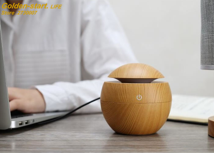 130ML USB Mini Wooden Ultrasonic Air Humidifier Aromatherapy Humidifier Portable LED Light DC 5V Aroma Oil Diffuser Air Purifier 5v led lighting usb mini air humidifier 250ml bottle included air diffuser purifier atomizer for desktop car