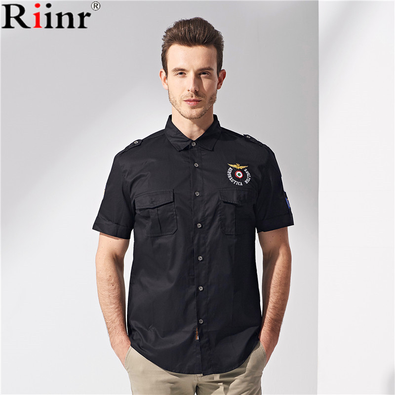 Riinr Men Shirt Brand 2018 Male Short Sleeve Hawaiian Shirts Casual Metal Buckle Hit Color Slim Fit Black Mens Dress Shirts