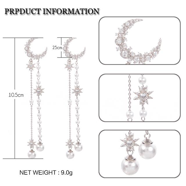 Boho Islamic Style Moon Star Long Drop Earrings