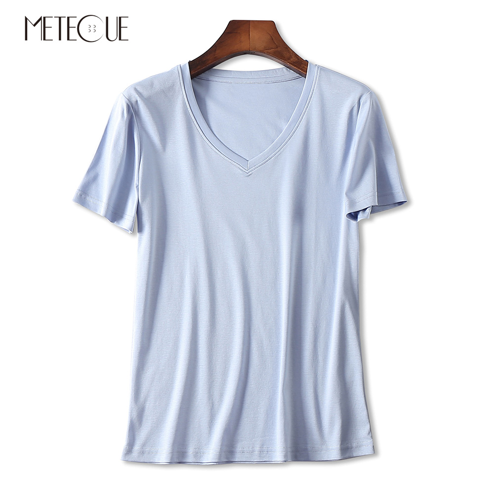 Casual 100 Double sided Mercerized Cotton Tee Shirts Women T shirt Brief V Neck Short Sleeve
