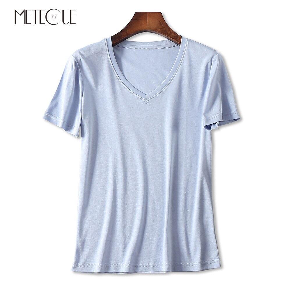 Décontracté 100% Double face coton mercerisé t-shirts femmes t-shirt bref col en V à manches courtes Slim t-shirt haut pour femme été 2018