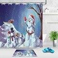 Снеговик и Санта Клаус занавеска для душа зимняя сцена очень длинная Водонепроницаемая Экологически чистая ванная полиэстер ткань для ван...